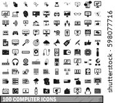 100 computer icons set in... | Shutterstock . vector #598077716
