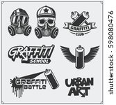 set of graffiti school and... | Shutterstock .eps vector #598080476