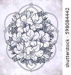 floral highly detailed hand... | Shutterstock .eps vector #598084442