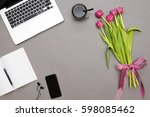 working place on gray... | Shutterstock . vector #598085462
