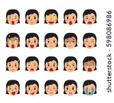 set of a woman faces showing... | Shutterstock .eps vector #598086986