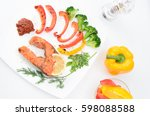 grilled red fish with sauce ...   Shutterstock . vector #598088588