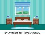 interior bedroom design with... | Shutterstock .eps vector #598090502