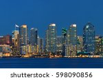 san diego downtown skyline over ... | Shutterstock . vector #598090856