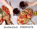 woman hands toasting with... | Shutterstock . vector #598094378