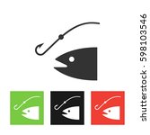 fishing icon vector... | Shutterstock .eps vector #598103546