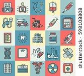 medical outline color icon set. | Shutterstock .eps vector #598108808