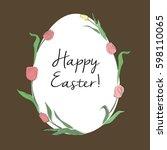 happy easter. hand drawn vector ... | Shutterstock .eps vector #598110065