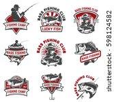set of bass fishing emblem... | Shutterstock .eps vector #598124582
