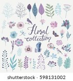 floral collection with vintage... | Shutterstock .eps vector #598131002