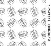 burger seamless vector pattern | Shutterstock .eps vector #598134242