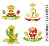 illustration set of mexico...   Shutterstock .eps vector #598140956