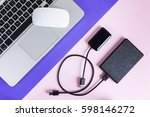 flat lay  top view office table ... | Shutterstock . vector #598146272