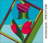 art deco vector colored... | Shutterstock .eps vector #598147148