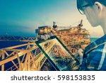 double exposure of... | Shutterstock . vector #598153835