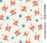 seamless pattern with tender... | Shutterstock .eps vector #598159388