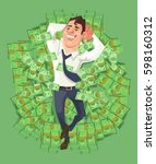 happy smiling rich businessman... | Shutterstock .eps vector #598160312