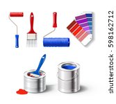 realistic set of paint tools  ... | Shutterstock .eps vector #598162712