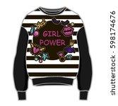 trendy women sweatshirt with... | Shutterstock .eps vector #598174676