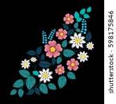 embroidery ethnic flowers and... | Shutterstock .eps vector #598175846