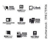 book logo set flat black style... | Shutterstock .eps vector #598175906