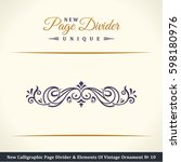calligraphic page divider and... | Shutterstock . vector #598180976