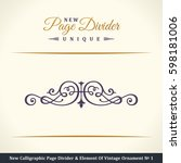 calligraphic page divider and... | Shutterstock . vector #598181006