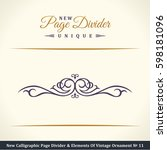 calligraphic page divider and... | Shutterstock . vector #598181096