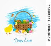 happy easter greeting card ... | Shutterstock .eps vector #598185932