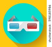 flat anaglyph 3d glasses vector ... | Shutterstock .eps vector #598185986