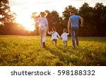 family with children running... | Shutterstock . vector #598188332
