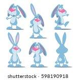 set of crazy rabbit. cartoon...