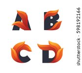 set of letters icons with fire... | Shutterstock .eps vector #598192166