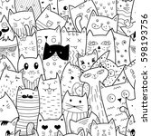 Stock vector seamless pattern with doodle cats can be used for textile website background book cover 598193756