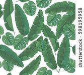 exotic banana leaf pattern.... | Shutterstock .eps vector #598195958