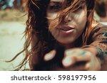 sexy bikini girls sunbathing... | Shutterstock . vector #598197956