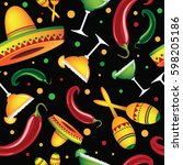 mexican seamless design. with... | Shutterstock .eps vector #598205186