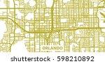 detailed vector map of orlando... | Shutterstock .eps vector #598210892
