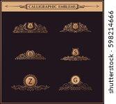 luxury logos monogram. vintage... | Shutterstock . vector #598214666