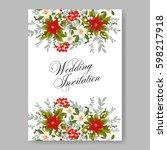 romantic pink peony bouquet... | Shutterstock .eps vector #598217918