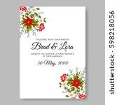 romantic pink peony bouquet... | Shutterstock .eps vector #598218056