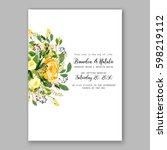 yellow rose floral wedding... | Shutterstock .eps vector #598219112