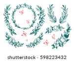 set of floral elements with... | Shutterstock .eps vector #598223432