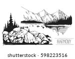 boat  a lake  pier  mountains. ... | Shutterstock .eps vector #598223516