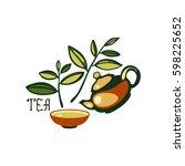emblem with tea leaves  teapot  ... | Shutterstock .eps vector #598225652