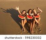 best friends having fun on the... | Shutterstock . vector #598230332