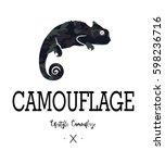 camouflage  chameleon... | Shutterstock .eps vector #598236716