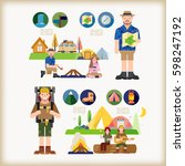 hiking  camping | Shutterstock .eps vector #598247192