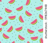 seamless watermelon pattern.... | Shutterstock .eps vector #598267448