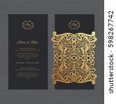 wedding invitation or greeting... | Shutterstock .eps vector #598267742